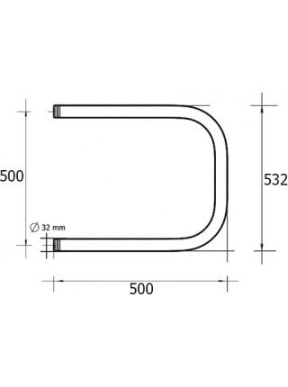 Полотенцесушитель водяной Terminus П-образный П 500х500 (хром глянец, боковое подключение)
