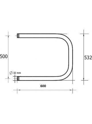 Полотенцесушитель водяной Terminus П-образный П 500х600 (хром глянец, боковое подключение)