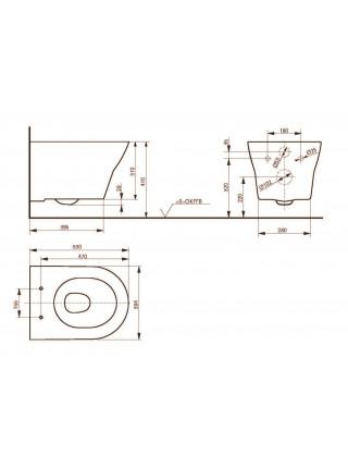 Унитаз подвесной Toto MH Rimless CW162Y (безободковый, крышка-сиденье VC10047NN (дюропласт, микролифт))