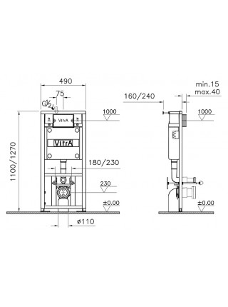 Комплект инсталляция Vitra 742-5800-01 и унитаз Vitra Normus 9773B003-7201 (дюропластовое сиденье, клавиша белая)