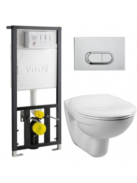 Комплект инсталляция Vitra 742-5800-01 и унитаз Vitra Normus 9773B003-7202 (дюропластовое сиденье, клавиша хром)