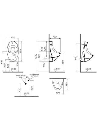 Писсуар Vitra Arkitekt 4106B003-5200 (сенсорный смыв, питание от батареи)