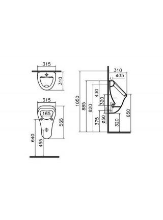 Писсуар Vitra Arkitekt 6201B003-0199 (подвод воды сзади)