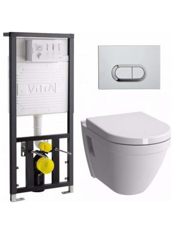 Комплект инсталляция Vitra 742-5800-01 и унитаз Vitra S50 Rim-Ex 9003B003-7201 (безободковый, сиденье микролифт, клавиша хром)