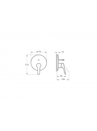 Смеситель для ванны Vitra Solid S A42446EXP (хром глянец, внешняя часть, скрытого монтажа)