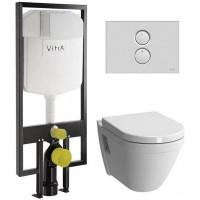 Комплект инсталляция с унитазом Vitra S50 9003B003-7200 (сиденье микролифт, клавиша хром)