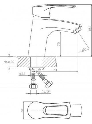 Смеситель для раковины Voda List LS 26 (хром глянец)