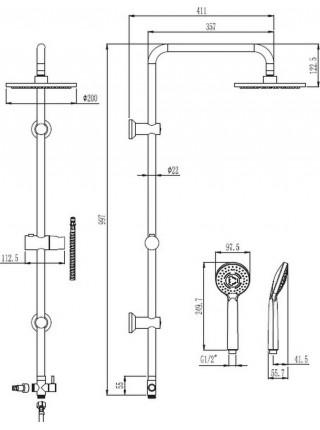 Душевая система Voda VST1000 (хром глянец, без смесителя)