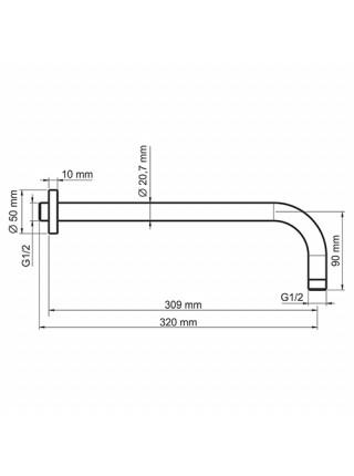 Настенный излив для ванны Wasser Kraft A079 320 мм. (чёрный)