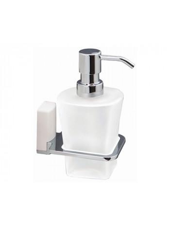 Дозатор для жидкого мыла стеклянный Wasser Kraft Leine White К-5099 (белый, хром глянец)