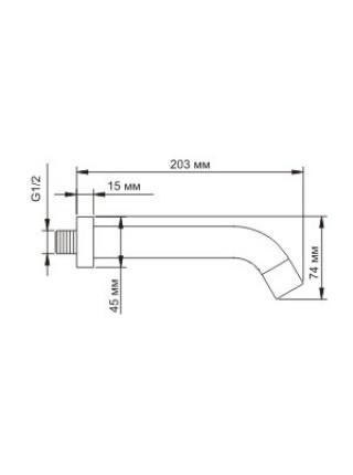 Настенный излив для ванны WasserKraft A018 203 мм. (хром глянец)