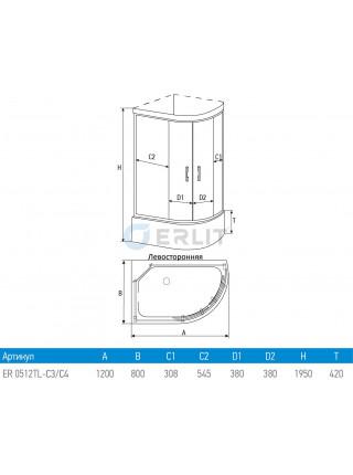 Душевой уголок Erlit ER 0512TL-C4 120х80 (левый, тонированное стекло, высокий поддон)