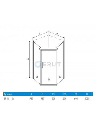 Душевой уголок Erlit ER10110V-C1 100х100 (прозрачное стекло)