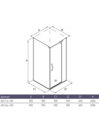 Душевой уголок Alex Baitler AB244-100 100х100 (тонированное стекло)