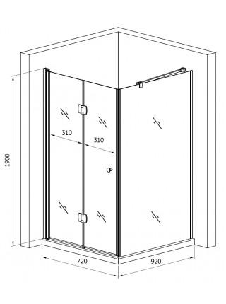 Душевой уголок Gemy Dutch Windmill S37193A-D100 72х102 (хром, прозрачное стекло)