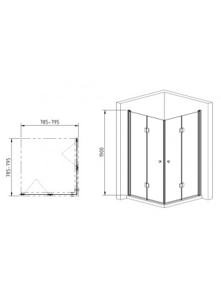 Душевой уголок Gemy Dutch Windmill S37193B-S37193B 80х80 (хром, прозрачное стекло)