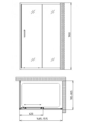 Душевой уголок Gemy Victoria S30191CM-A80M 150х80 (хром, матовое стекло)
