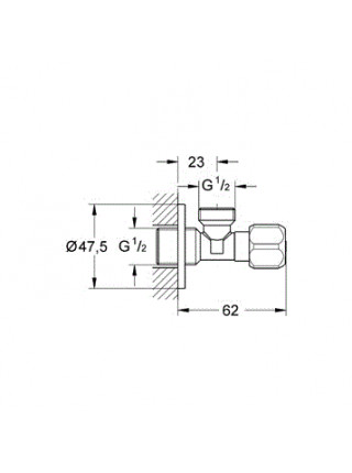 Угловой вентиль Grohe 2201600M 1/2*1/2 (хром глянец)