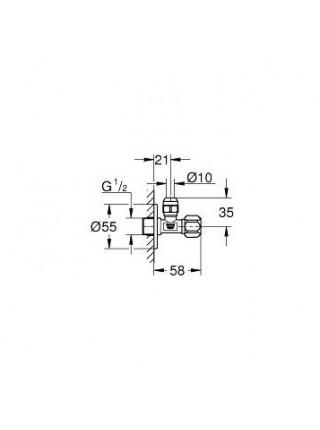 Угловой вентиль Grohe 2201800M 1/2*3/8 (хром глянец)