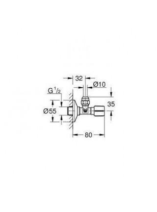 Угловой вентиль Grohe 22037000 1/2*3/8 (хром глянец)