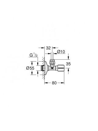 Угловой вентиль Grohe 22039000 1/2*3/8 (хром глянец)