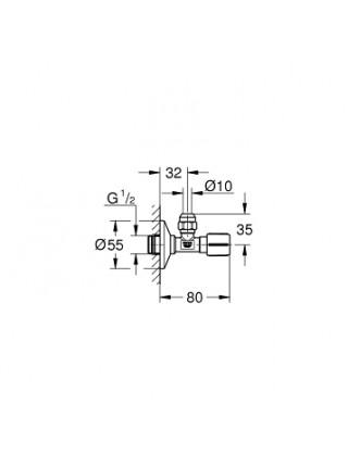 Угловой вентиль Grohe 22039AL0 1/2*3/8 (темный графит матовый)