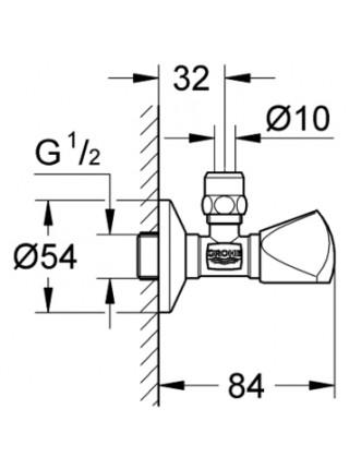 Угловой вентиль Grohe 22939000 1/2*3/8 (хром глянец)