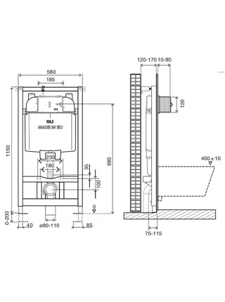Инсталляция для подвесного унитаза OLI74 Plus Sanitarblock 601801 (механический смыв)
