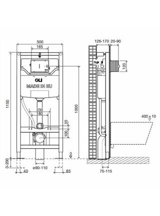 Инсталляция для подвесного унитаза OLI120 Eco Sanitarblock 879236 (механический смыв)